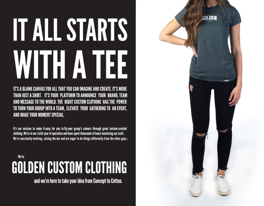 a girl wearing a grey golden custom tee and black jeans with rips in the knees standing beside the golden custom explanation